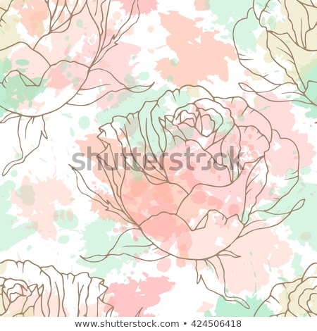 floral seamless pattern outline stylized roses abstract background with pink flowers stock photo © essl
