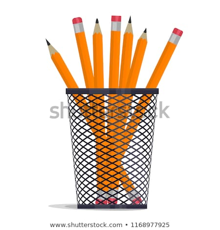 Pencil in holder basket, drawing equipment. Vector Stock photo © Andrei_