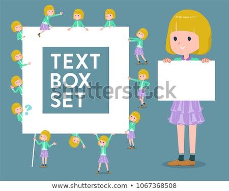 flat type blond hair girl white_text box Stock photo © toyotoyo