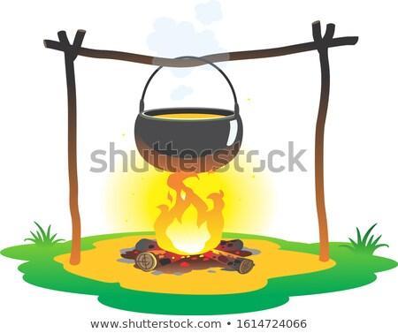 Camping fogueira lugar lenha comida floresta Foto stock © popaukropa