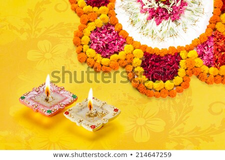 lovely diwali diya with rangoli design Stock photo © SArts