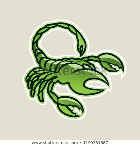 Verde lucido scorpione icona vettore illustrazione Foto d'archivio © cidepix
