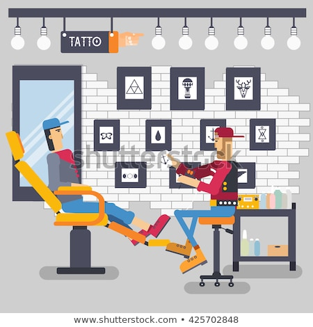 The artist offers the option of a tattoo for client concept. Vector tattoo shop with people backgrou Stock photo © Linetale