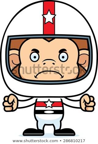 Cartoon colère voiture de course pilote singe regarder Photo stock © cthoman