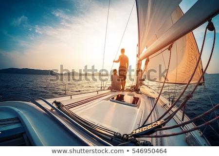 Vitorla csónak tenger horizont kék víz Stock fotó © Kzenon