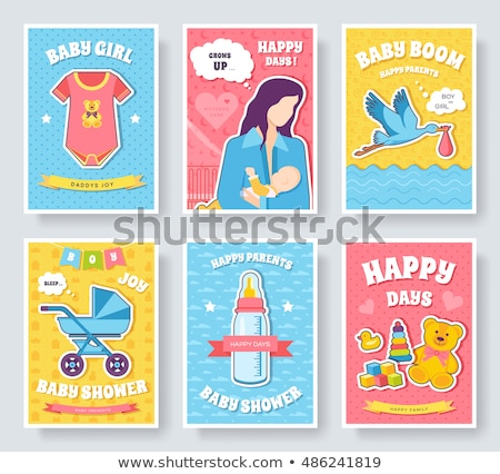 World breastfeeding week cards set. kids elements of flyear, magazines, posters, book cover, banners Stock photo © Linetale