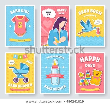 Мир грудное вскармливание неделя карт набор дети Сток-фото © Linetale