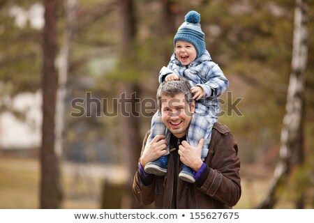Winter, Father, Son, Carrying, Shoulders, Happy, Park, Carrying  Stock photo © monkey_business