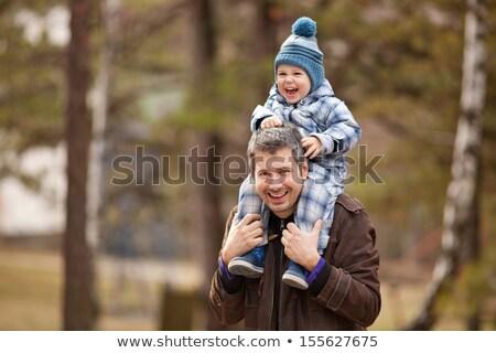 sorridere · uomo · figlio · spalle · parco - foto d'archivio © monkey_business