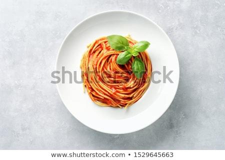Pomodoro pasta basilico legno vintage bordo Foto d'archivio © Peteer
