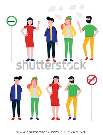 Young Girl Teenager Smoking And Coughing Vector. Isolated Illustration Stock photo © pikepicture