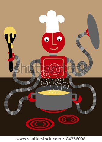 robot cook cooking food vector isolated illustration stock photo © pikepicture