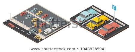 Wektora izometryczny samochodu parking ulicy Zdjęcia stock © tele52