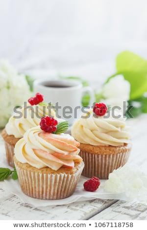 chocolat · muffin · fraise · isolé · cartoon · style - photo stock © tasipas