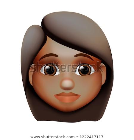 Woman emoji icon, dark skin tone, red hair, vector illustration. Stock photo © ikopylov