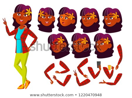 Teen Girl Vector. Teenager. Indian, Hindu. Asian. Leisure, Smile. Face Emotions, Various Gestures. A Stock photo © pikepicture