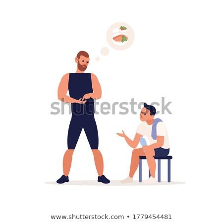 Karikatur Bodybuilder sprechen Illustration Sport Männer Stock foto © cthoman