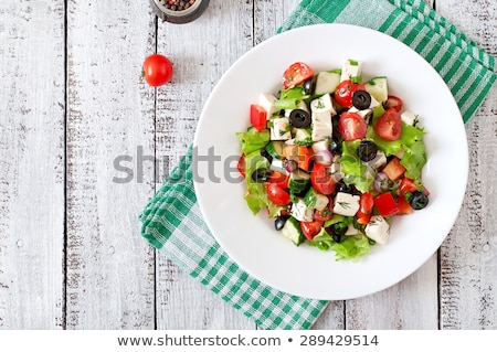 Salade feta tomaten sla witte plaat Stockfoto © Lana_M