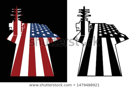 Aircraft Carrier Flight Deck American Flag Vector Illustration Stock photo © jeff_hobrath