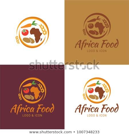 африканских приготовления иконки иллюстрация продовольствие Кука Сток-фото © lenm