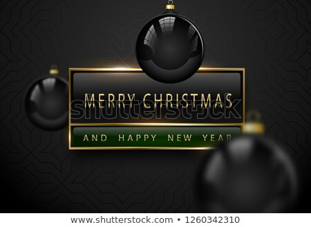 Merry Chistmas and happy new year luxury banner. Golden text, black green rectangular label frame Stock photo © Iaroslava