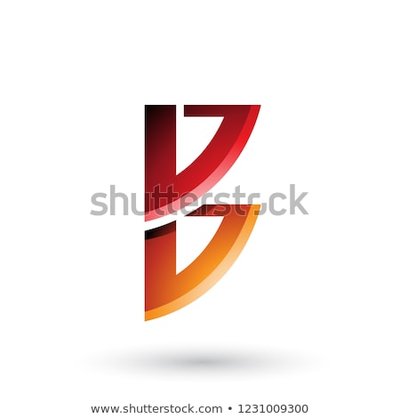 red and orange bow like shape of letter b vector illustration stock photo © cidepix