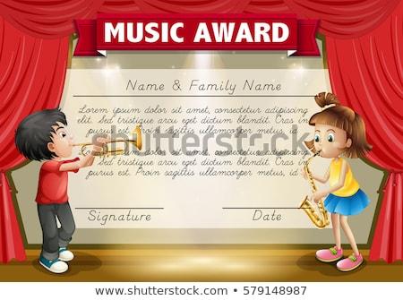 crianças · brincando · instrumentos · musicais · ilustração · criança · fundo · arte - foto stock © colematt
