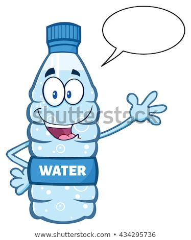 cartoon illustation of a water plastic bottle mascot character waving waving for greeting with speec stock photo © hittoon