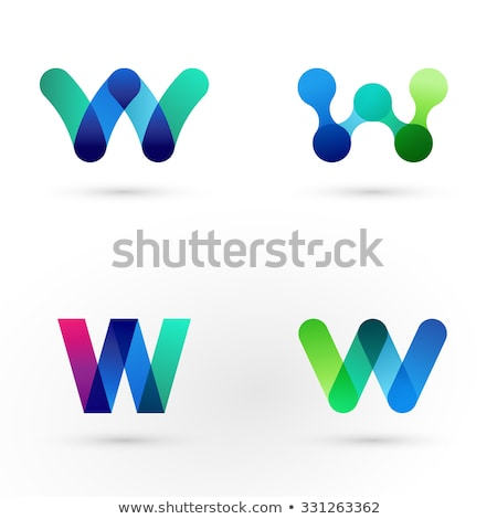 blue pink letter w logo sign vector icon Stock photo © blaskorizov