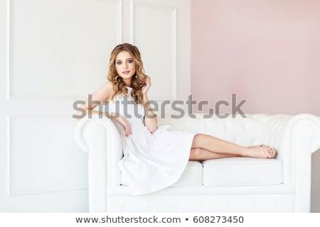 beauty girl on sofa Stock photo © Lopolo