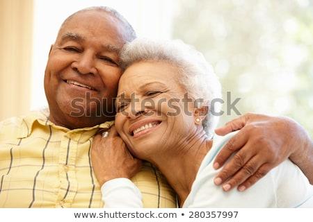 Foto d'archivio: Affettuoso · attrattivo · anziani · Coppia · seduta · insieme