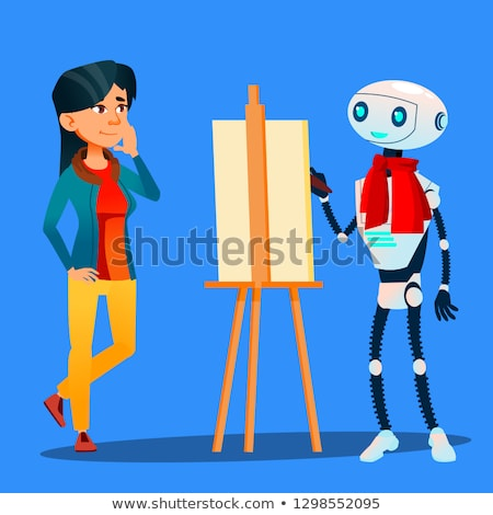 Robot Artist Paints On Easel Portrait Of Woman Vector. Isolated Illustration Stock photo © pikepicture