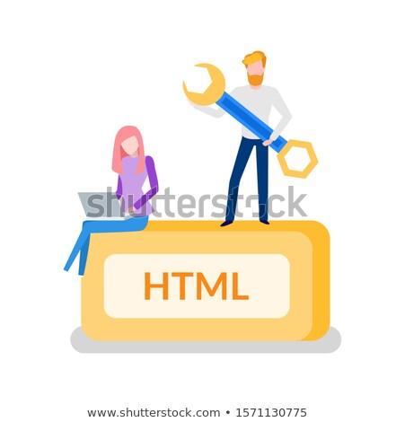 html · knop · 3D · sleutel · metaal - stockfoto © robuart