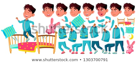 Asian Boy Kindergarten Kid Vector. Animation Creation Set. Sleep, Bedroom. Pillow,Toy. Face Emotions Stock photo © pikepicture
