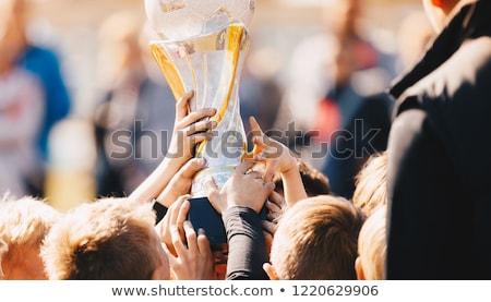 Közelkép gyerekek sportcsapat trófea fiúk ünnepel Stock fotó © matimix