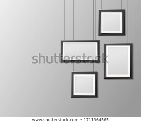 Realistic vertical gray frame template, frame on the wall mockup with decorative borders Stock photo © MarySan