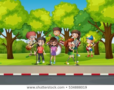 crianças · brincando · música · conjunto · instrumento · musical · crianças · feliz - foto stock © colematt