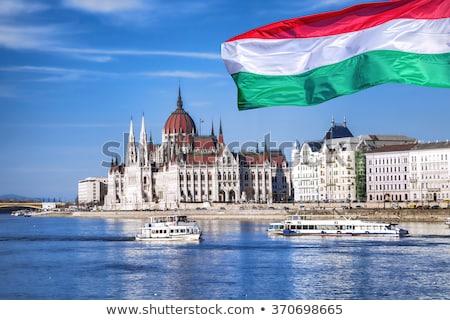Casa bandiera Ungheria fila bianco case Foto d'archivio © MikhailMishchenko