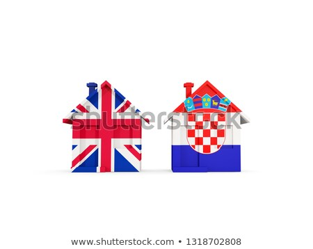 Two houses with flags of United Kingdom and croatia Stock photo © MikhailMishchenko