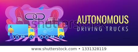 truck platooning concept banner header stock photo © rastudio