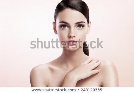 Vonzó barna hajú profi smink hibátlan arc Stock fotó © studiolucky