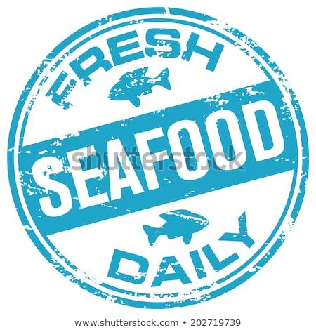Diariamente fresco frutos do mar cartaz madeira peixe Foto stock © colematt