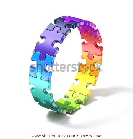 fényes · puzzle · színes · darabok · piros · zöld - stock fotó © djmilic
