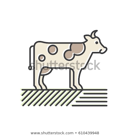 Cow Isolated Emblem in Cartoon Style Vector Icon Stock photo © robuart