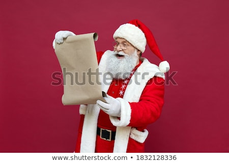 alegre · natal · papai · noel · leitura · desejo · lista - foto stock © robuart