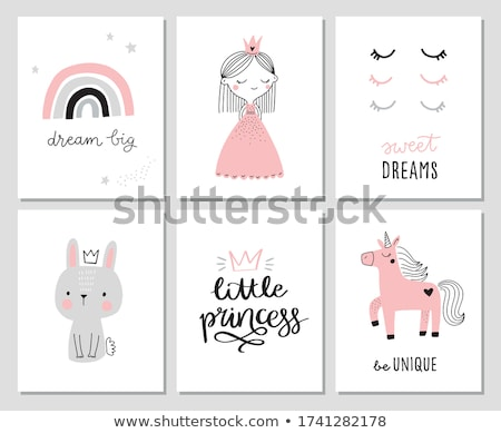 vector pink unicorn room art stock photo © VetraKori