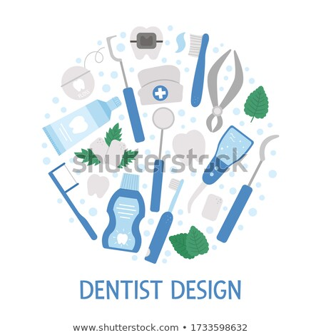 стоматолога инструменты круга икона долго тень Сток-фото © Anna_leni
