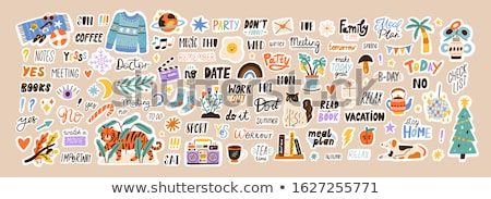 Sticker ingesteld papier abstract ontwerp metaal Stockfoto © lemony