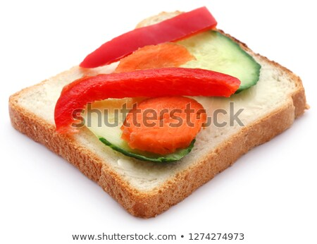 Bread slice with capsicum and other vegetables Stock photo © bdspn