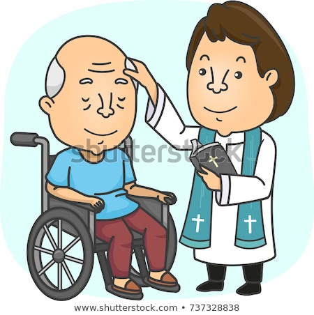 Man Priest Anoint Sick Wheel Chair Senior Illustration Stock photo © lenm
